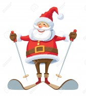Smiling-Santa-Claus-skiing-over-white-background--Stock-Vector